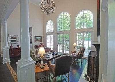 Stone Fireplace livingroom Lake Toxaway Rental Cardinal Zen