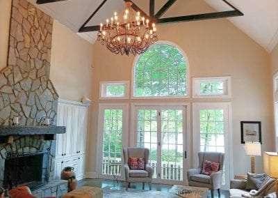 Stone Fireplace livingroom Lake Toxaway Rental Cardinal Zen Outdoor