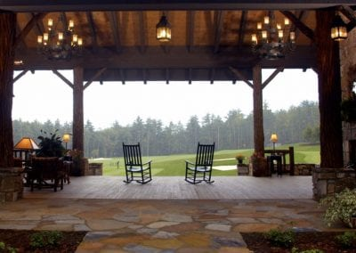 back porch on golf course at Lake Toxaway Rental 5 bedroom 5 bath Cardinal Zen 14