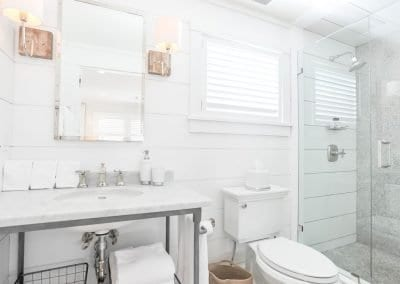 Marble bathroom Nantucket Luxurious Harbor View Cottage Walk to everything Lizzie 08