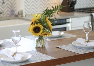 table setting of kitchen Nantucket Luxurious Harbor View Cottage Walk to everything23