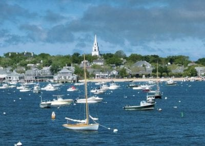 View of ships in Nantucket Harbor Nantucket Luxurious Harbor View Cottage Walk to everything1