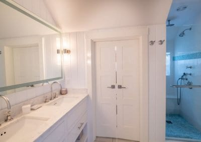 Marble counter tops and shower in bath of Nantucket Luxurious Harbor View Cottage Walk to everything1