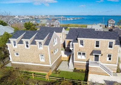 View of homes and harbor from Nantucket MA Rental Cottage, Water View, Beautiful Beach inspired interior