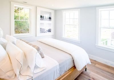 Bedroom of antucket MA Rental Cottage, Water View, Beautiful Beach inspired interior