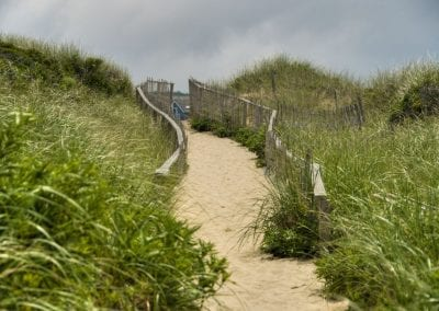View of beach path at All amenities included Nantucket MA Rental Cottage, Water View, Beautiful Beach inspired interior