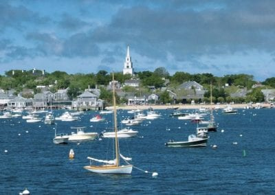 harbor view of All amenities included Nantucket MA Rental Cottage, Water View, Beautiful Beach inspired interior