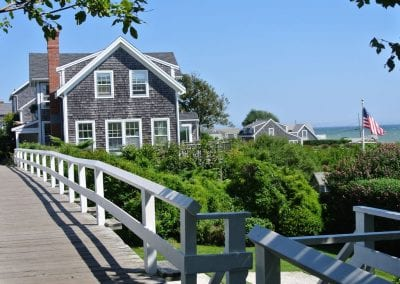 Exterior view of All amenities included Nantucket MA Rental Cottage, Water View, Beautiful Beach inspired interior