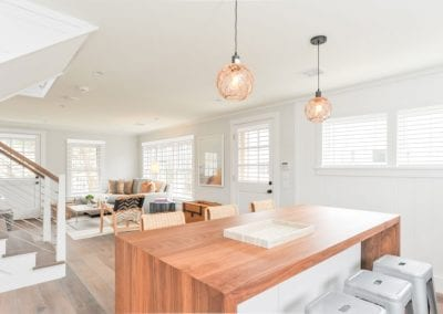 Dining and sitting are of antucket MA Rental Cottage, Water View, Beautiful Beach inspired interior
