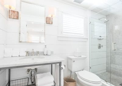 marble bathroom of antucket MA Rental Cottage, Water View, Beautiful Beach inspired interior