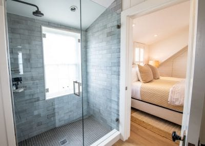 Bathroom and Bedroom with high end linens Nantucket Rental Cottage Harborview Cindy sleeps 4