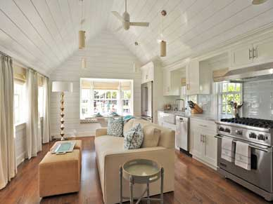 Open concept living and kitchen Ackceptional Rental property Nantucket MA